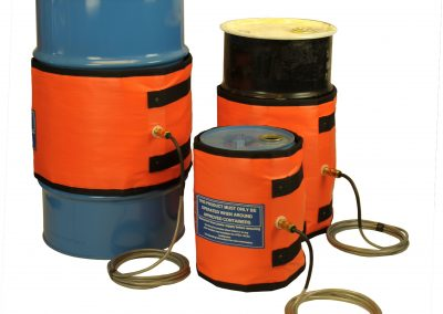 Intelliheat drum heater jackets on different sized drums