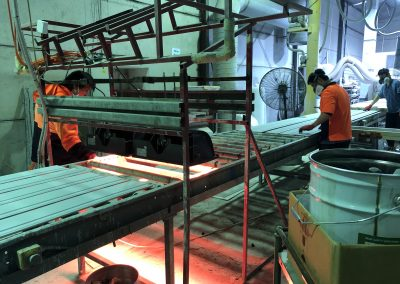 Heliosa Atex heaters drying panels in a factory